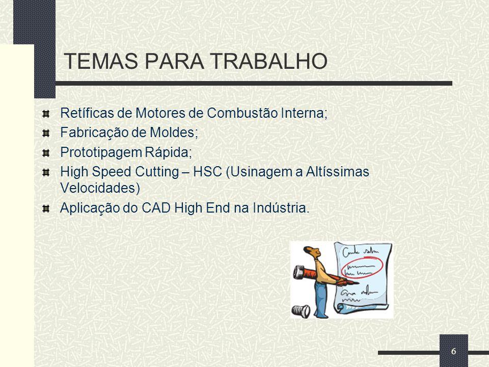 TEMAS PARA TRABALHO Retíficas de Motores de Combustão Interna; Fabricação de Moldes; Prototipagem Rápida; High Speed Cutting – HSC (Usinagem a Altíssi