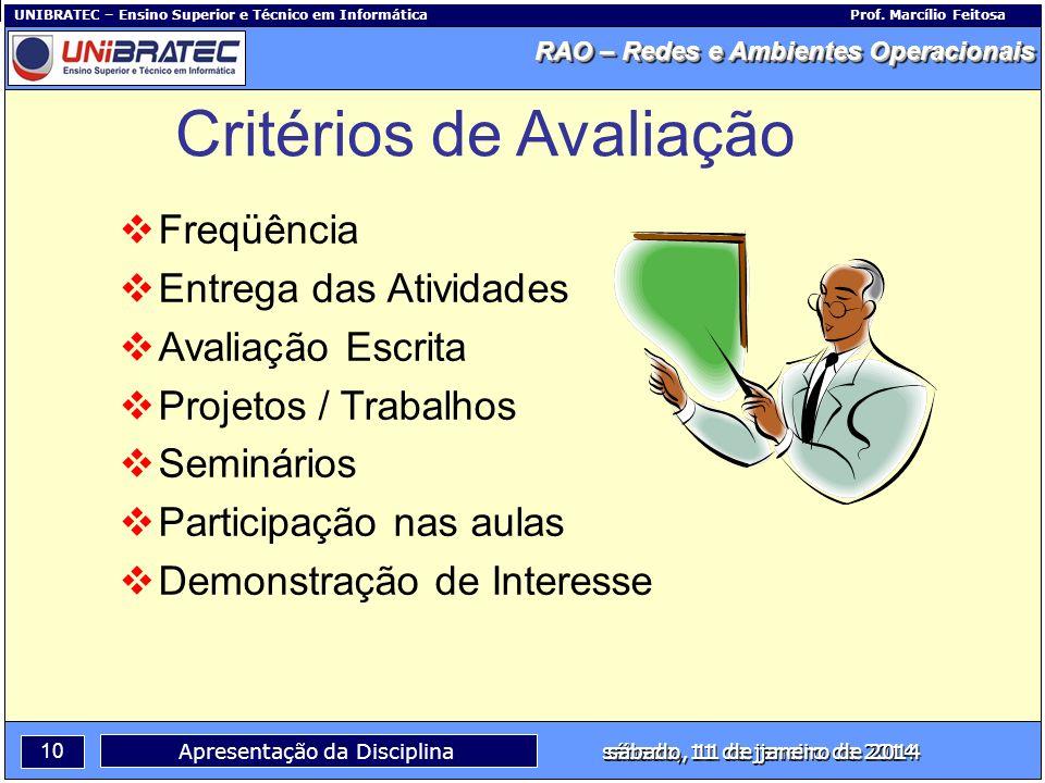 Capítulo 1 – Conceitos Básicos 10 Apresentação da Disciplina sábado, 11 de janeiro de 2014 RAO – Redes e Ambientes Operacionais UNIBRATEC – Ensino Sup