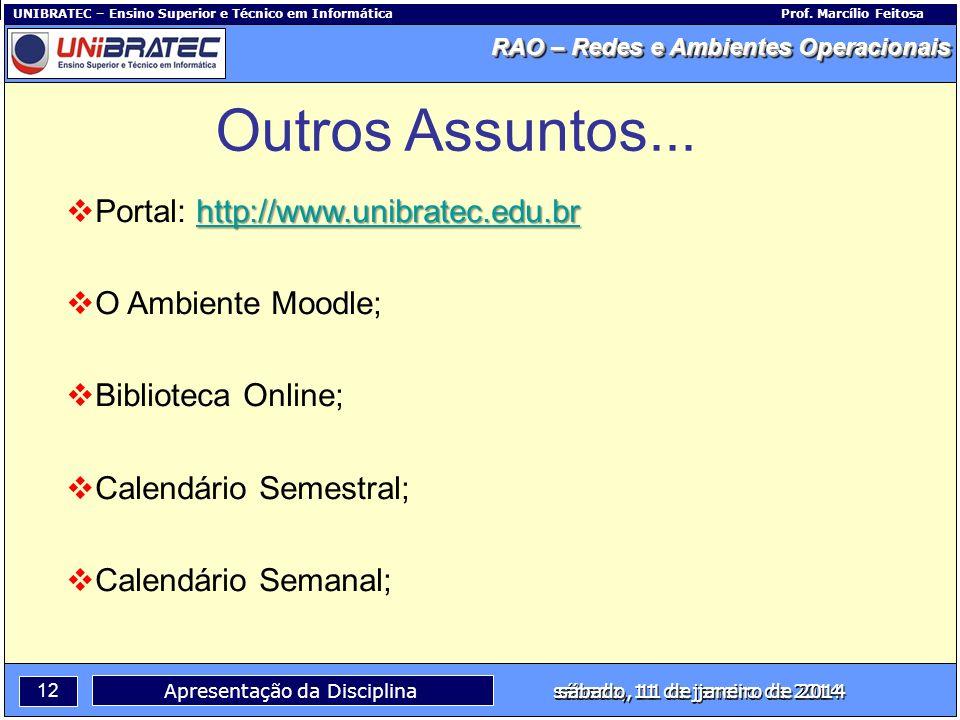 Capítulo 1 – Conceitos Básicos 12 Apresentação da Disciplina sábado, 11 de janeiro de 2014 RAO – Redes e Ambientes Operacionais UNIBRATEC – Ensino Sup