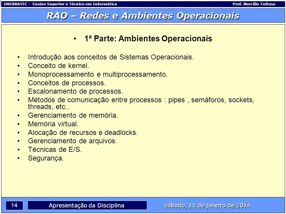 UNIBRATEC – Ensino Superior e Técnico em InformáticaProf. Marcílio Feitosa 14 RAO – Redes e Ambientes Operacionais sábado, 11 de janeiro de 2014 Apres