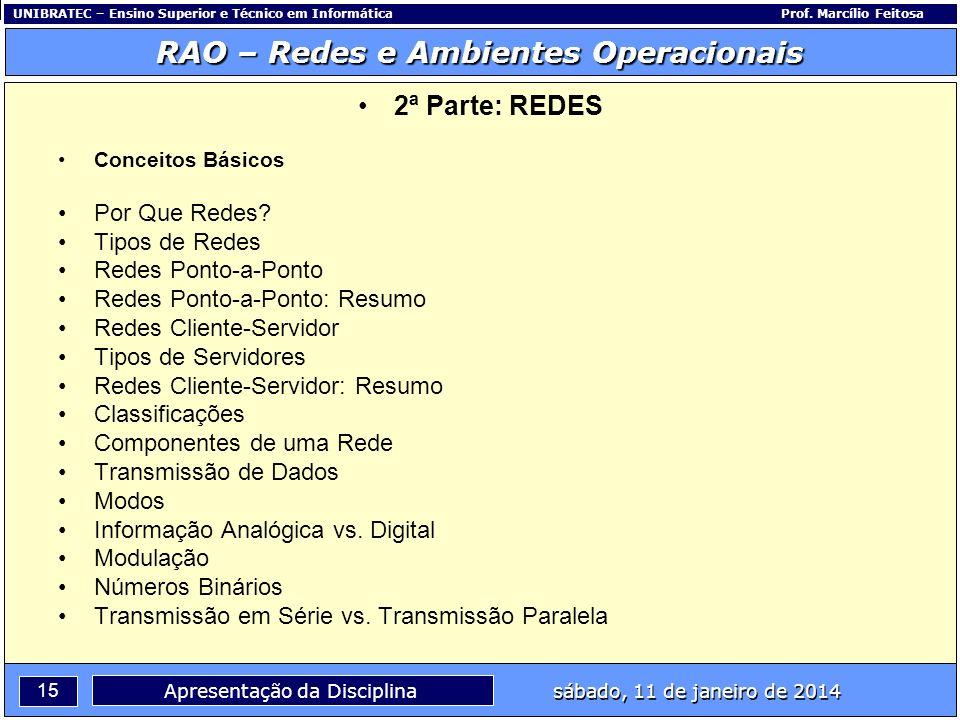 UNIBRATEC – Ensino Superior e Técnico em InformáticaProf. Marcílio Feitosa 15 RAO – Redes e Ambientes Operacionais sábado, 11 de janeiro de 2014 Apres