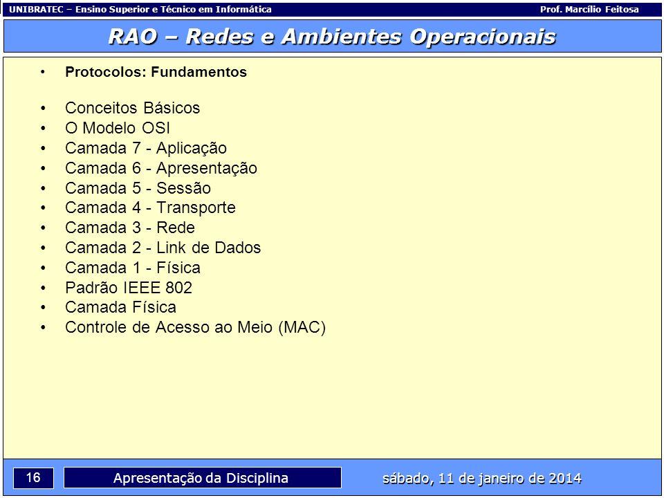 UNIBRATEC – Ensino Superior e Técnico em InformáticaProf. Marcílio Feitosa 16 RAO – Redes e Ambientes Operacionais sábado, 11 de janeiro de 2014 Apres