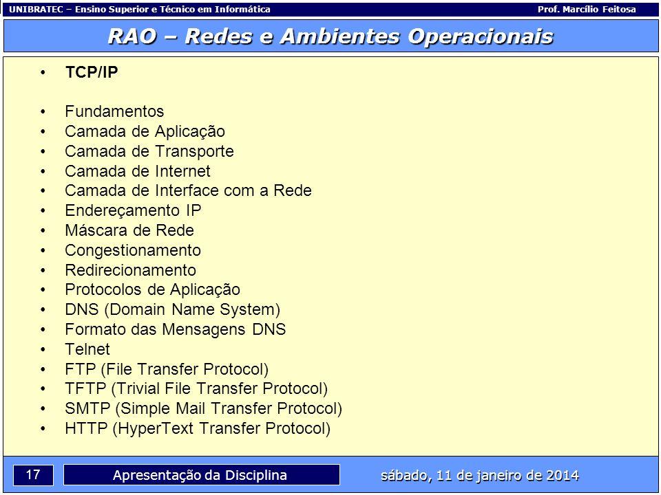 UNIBRATEC – Ensino Superior e Técnico em InformáticaProf. Marcílio Feitosa 17 RAO – Redes e Ambientes Operacionais sábado, 11 de janeiro de 2014 Apres