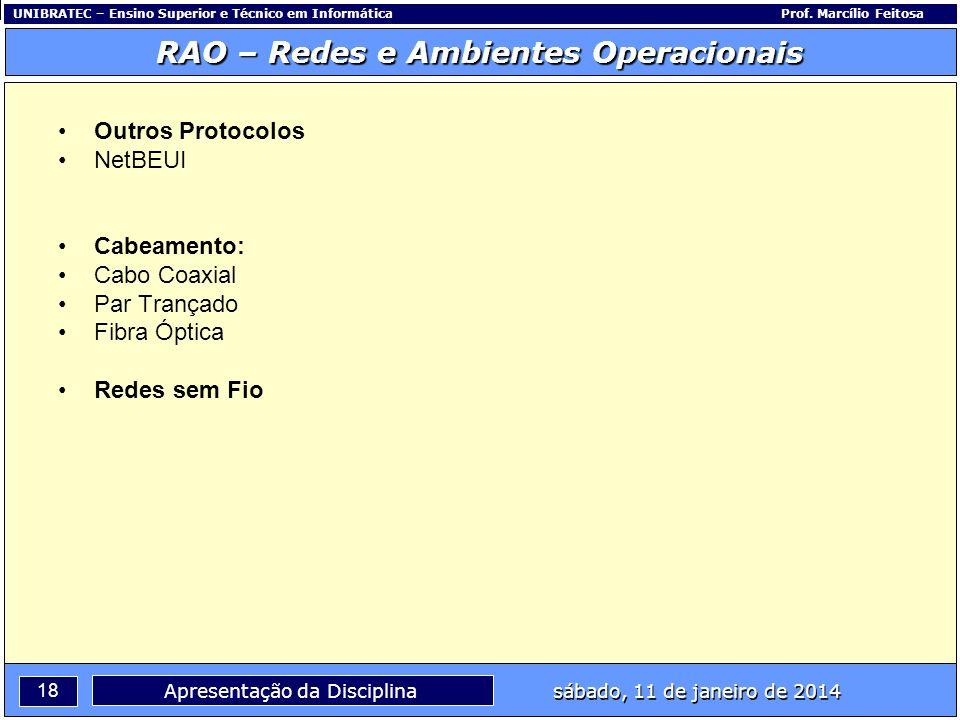 UNIBRATEC – Ensino Superior e Técnico em InformáticaProf. Marcílio Feitosa 18 RAO – Redes e Ambientes Operacionais sábado, 11 de janeiro de 2014 Apres