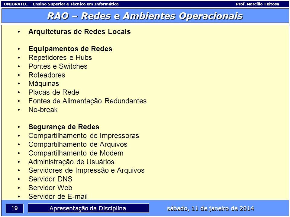 UNIBRATEC – Ensino Superior e Técnico em InformáticaProf. Marcílio Feitosa 19 RAO – Redes e Ambientes Operacionais sábado, 11 de janeiro de 2014 Apres