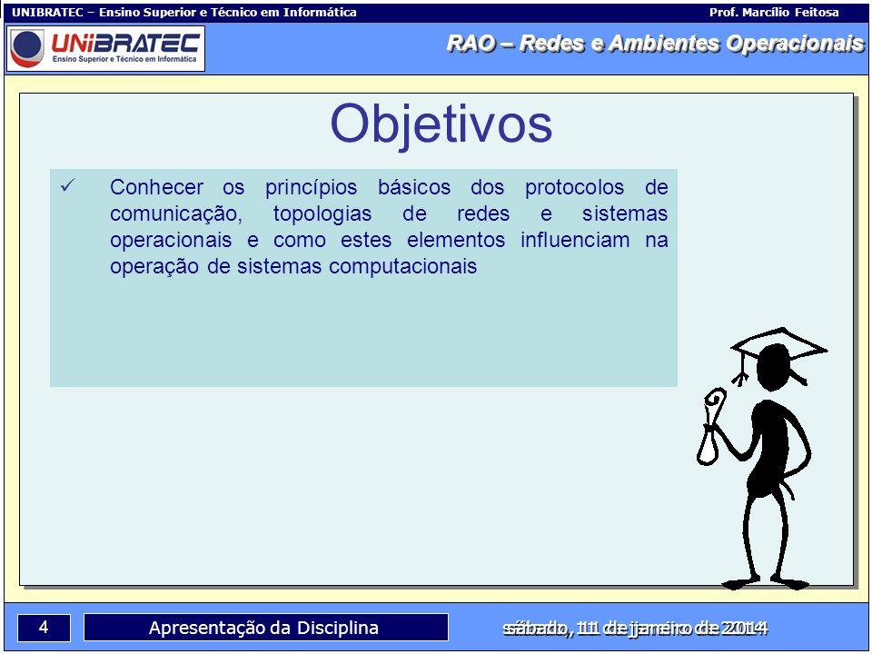Capítulo 1 – Conceitos Básicos 4 Apresentação da Disciplina sábado, 11 de janeiro de 2014 RAO – Redes e Ambientes Operacionais UNIBRATEC – Ensino Supe