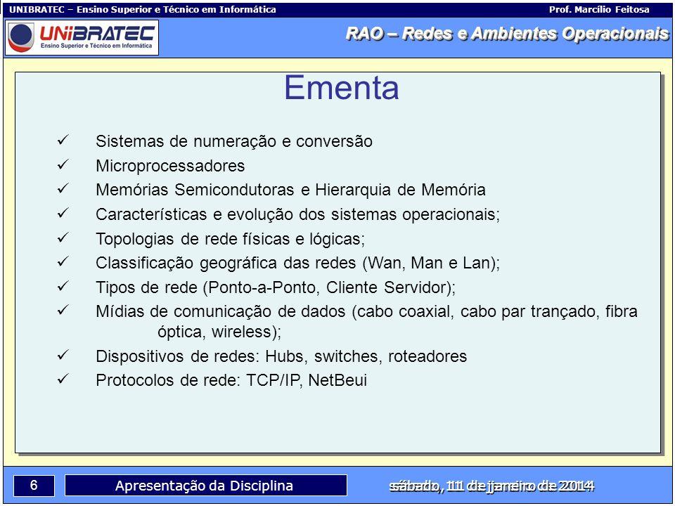 Capítulo 1 – Conceitos Básicos 6 Apresentação da Disciplina sábado, 11 de janeiro de 2014 RAO – Redes e Ambientes Operacionais UNIBRATEC – Ensino Supe
