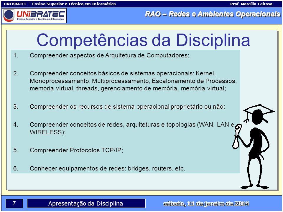Capítulo 1 – Conceitos Básicos 8 Apresentação da Disciplina sábado, 11 de janeiro de 2014 RAO – Redes e Ambientes Operacionais UNIBRATEC – Ensino Superior e Técnico em InformáticaProf.