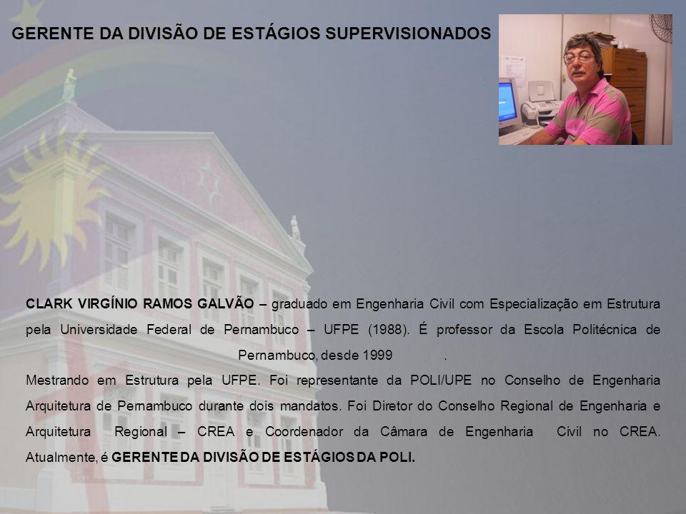CLARK VIRGÍNIO RAMOS GALVÃO – graduado em Engenharia Civil com Especialização em Estrutura pela Universidade Federal de Pernambuco – UFPE (1988). É pr