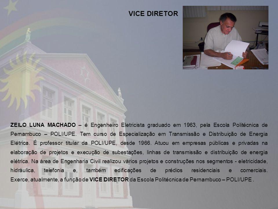 ZEILO LUNA MACHADO – é Engenheiro Eletricista graduado em 1963, pela Escola Politécnica de Pernambuco – POLI/UPE. Tem curso de Especialização em Trans