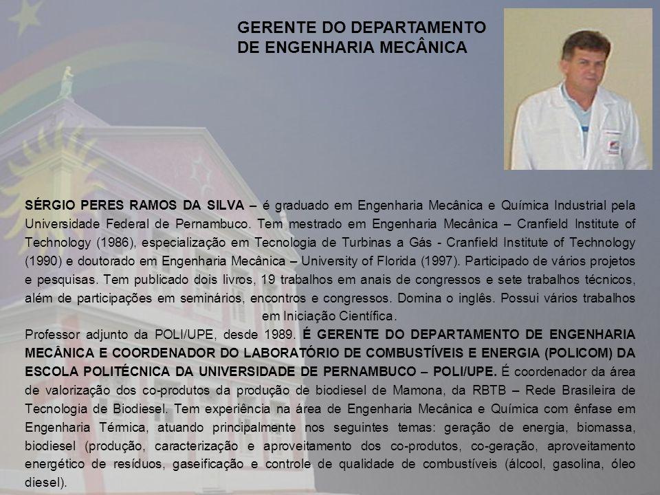 SÉRGIO PERES RAMOS DA SILVA – é graduado em Engenharia Mecânica e Química Industrial pela Universidade Federal de Pernambuco. Tem mestrado em Engenhar