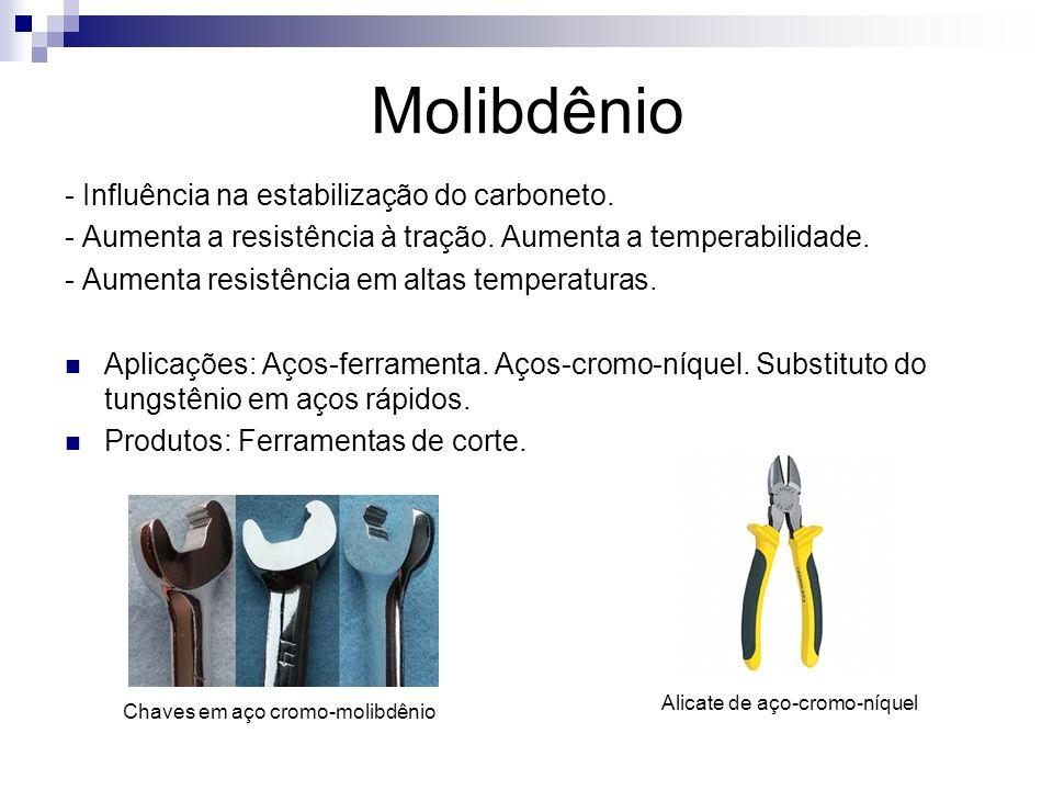 Molibdênio - Influência na estabilização do carboneto. - Aumenta a resistência à tração. Aumenta a temperabilidade. - Aumenta resistência em altas tem