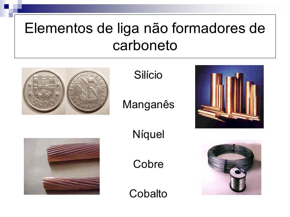 Elementos de liga não formadores de carboneto Silício Manganês Níquel Cobre Cobalto