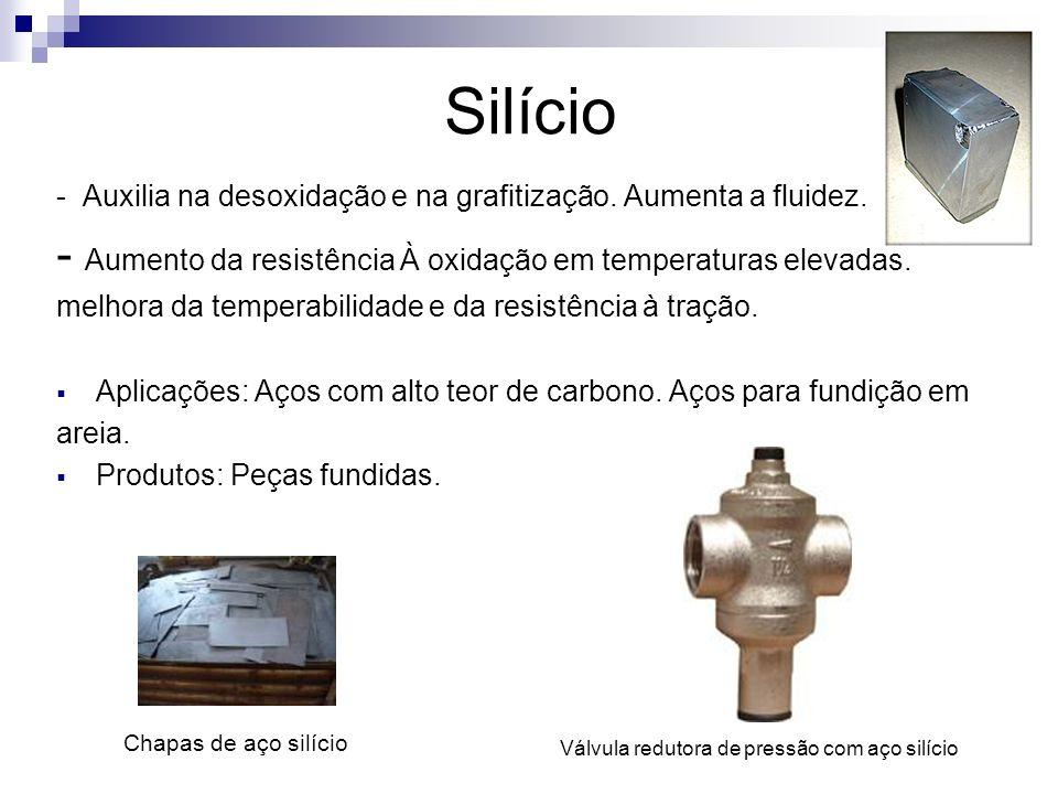 Silício - Auxilia na desoxidação e na grafitização. Aumenta a fluidez. - Aumento da resistência À oxidação em temperaturas elevadas. melhora da temper