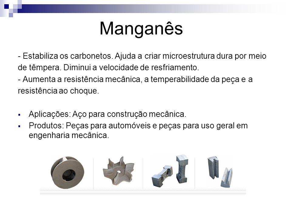 Manganês - Estabiliza os carbonetos. Ajuda a criar microestrutura dura por meio de têmpera. Diminui a velocidade de resfriamento. - Aumenta a resistên