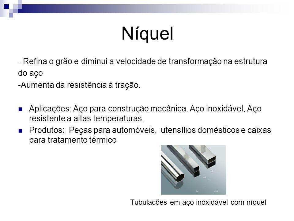 Níquel - Refina o grão e diminui a velocidade de transformação na estrutura do aço -Aumenta da resistência à tração. Aplicações: Aço para construção m