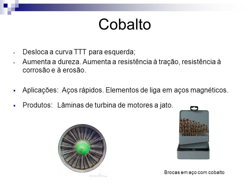 Cobalto - Desloca a curva TTT para esquerda; - Aumenta a dureza. Aumenta a resistência à tração, resistência à corrosão e à erosão. Aplicações: Aços r