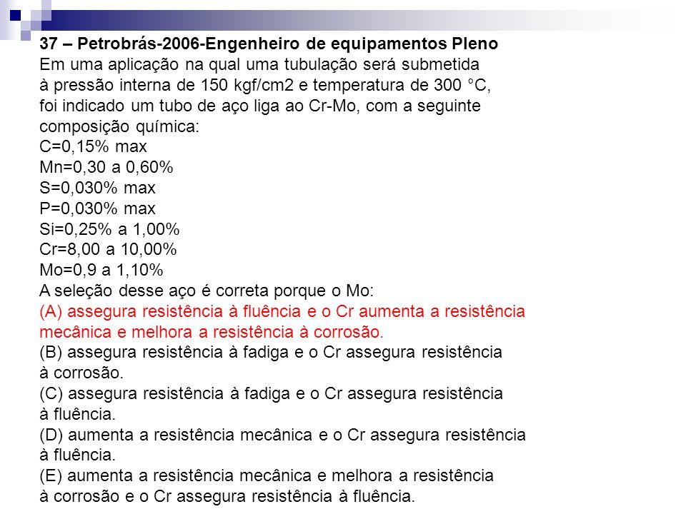 37 – Petrobrás-2006-Engenheiro de equipamentos Pleno Em uma aplicação na qual uma tubulação será submetida à pressão interna de 150 kgf/cm2 e temperat