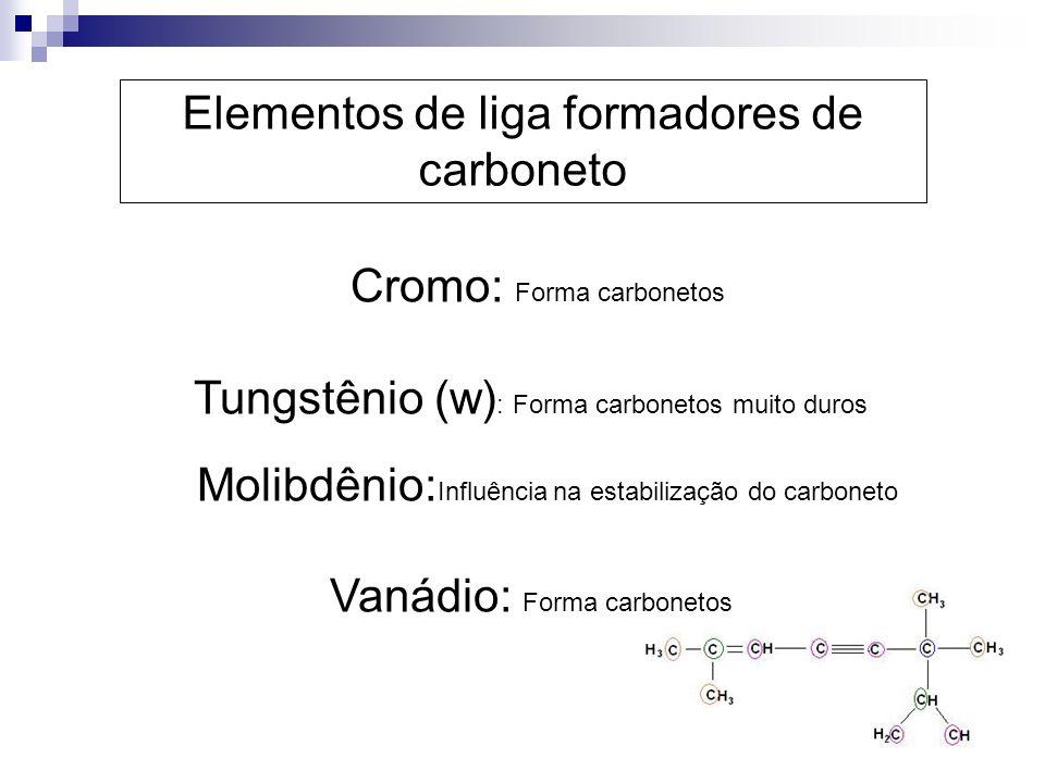 Cromo: Forma carbonetos Tungstênio (w) : Forma carbonetos muito duros Molibdênio: Influência na estabilização do carboneto Vanádio: Forma carbonetos E