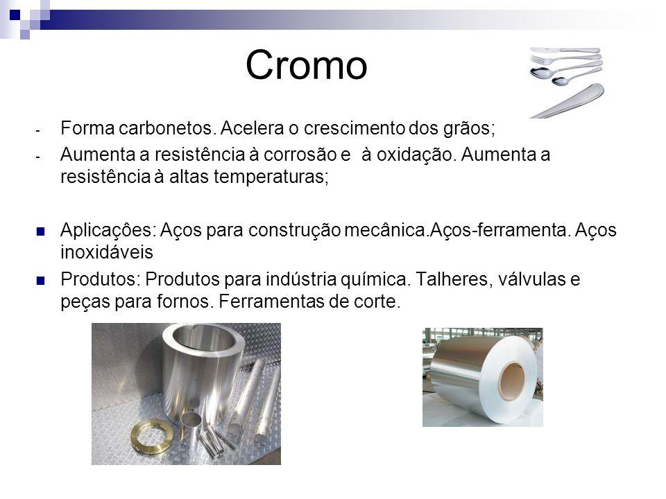 Cromo - Forma carbonetos. Acelera o crescimento dos grãos; - Aumenta a resistência à corrosão e à oxidação. Aumenta a resistência à altas temperaturas