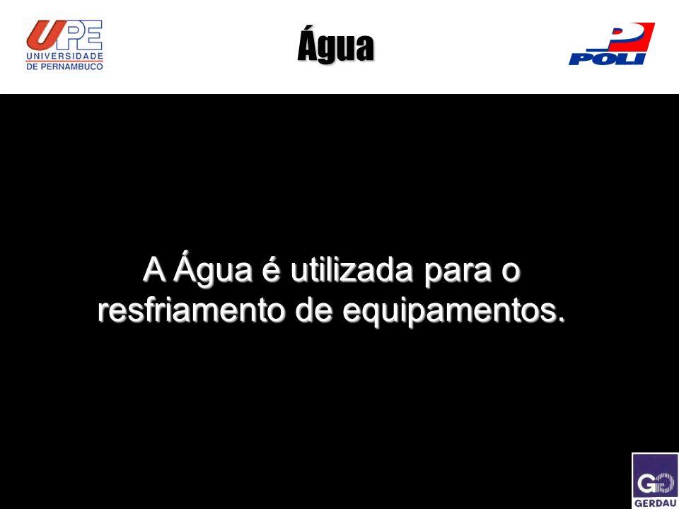Água A Água é utilizada para o resfriamento de equipamentos.