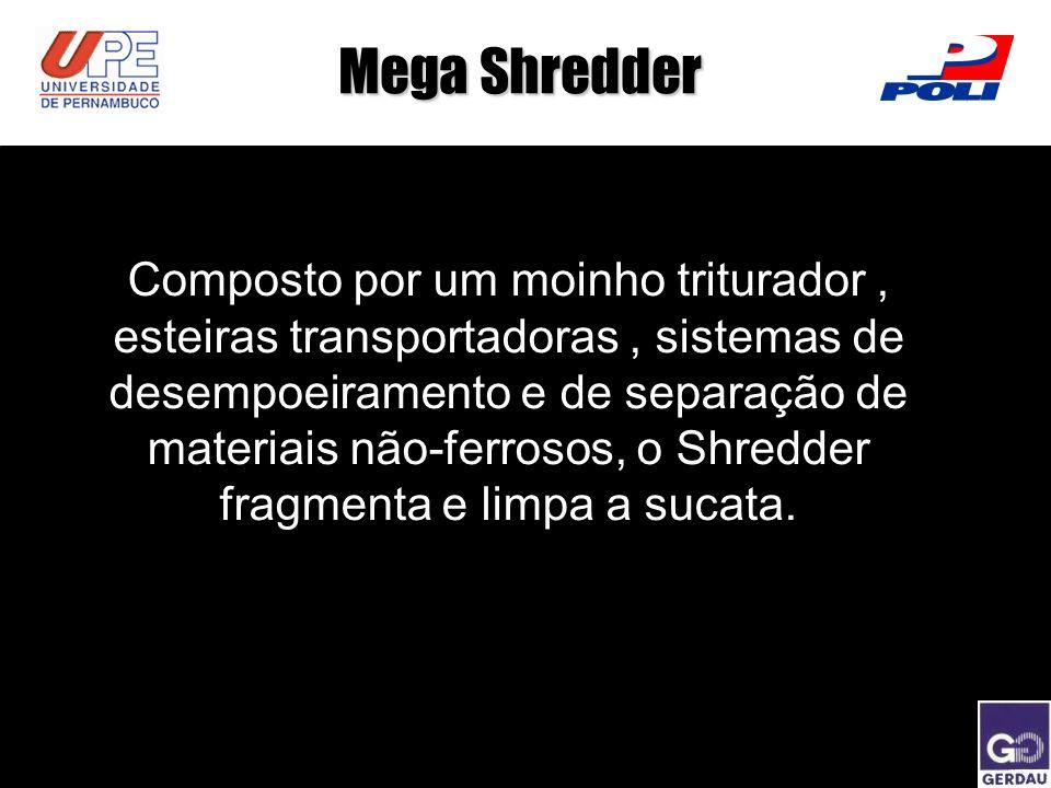 Composto por um moinho triturador, esteiras transportadoras, sistemas de desempoeiramento e de separação de materiais não-ferrosos, o Shredder fragmen