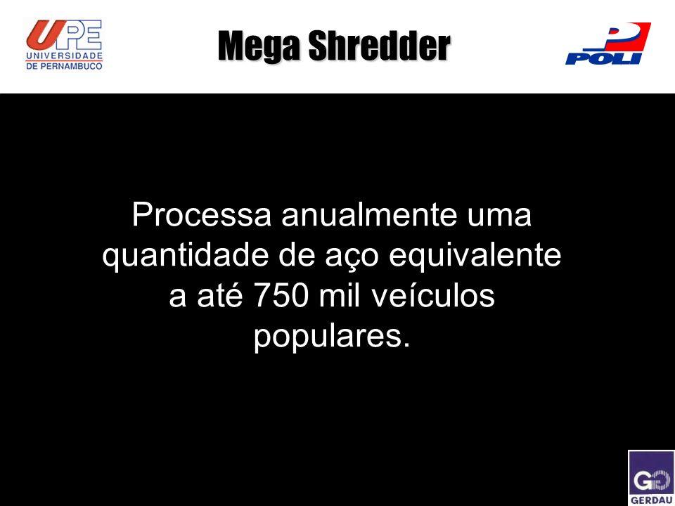 Processa anualmente uma quantidade de aço equivalente a até 750 mil veículos populares. Mega Shredder