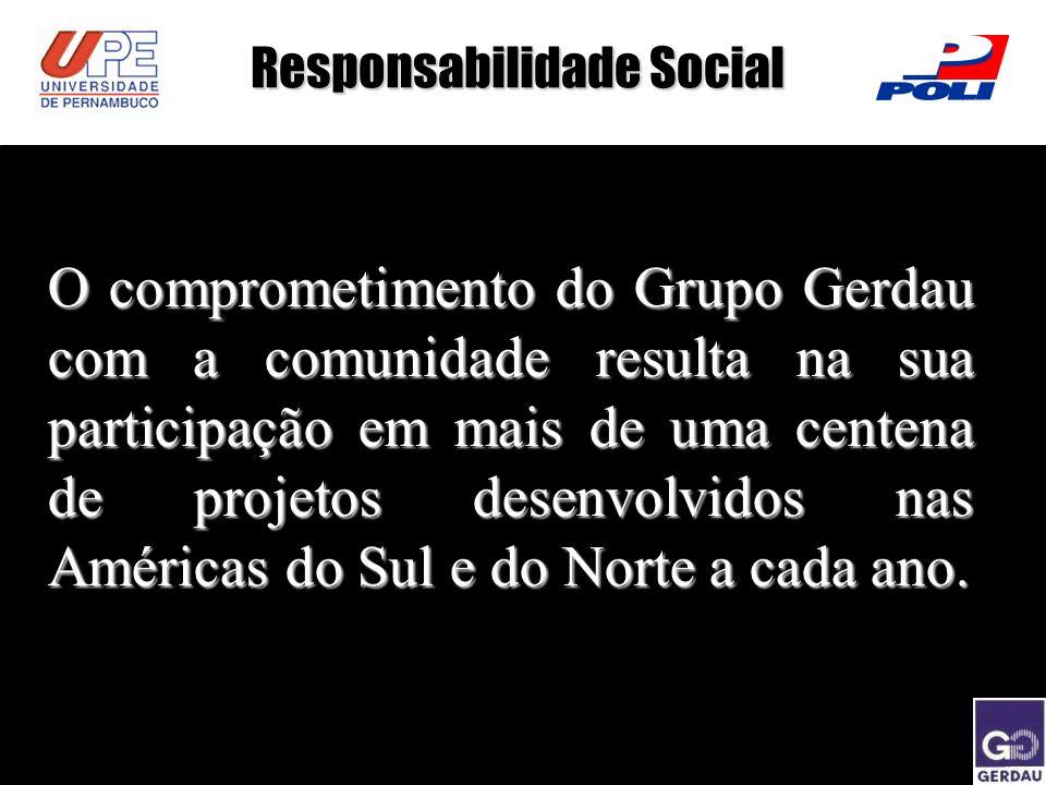 Responsabilidade Social O comprometimento do Grupo Gerdau com a comunidade resulta na sua participação em mais de uma centena de projetos desenvolvido