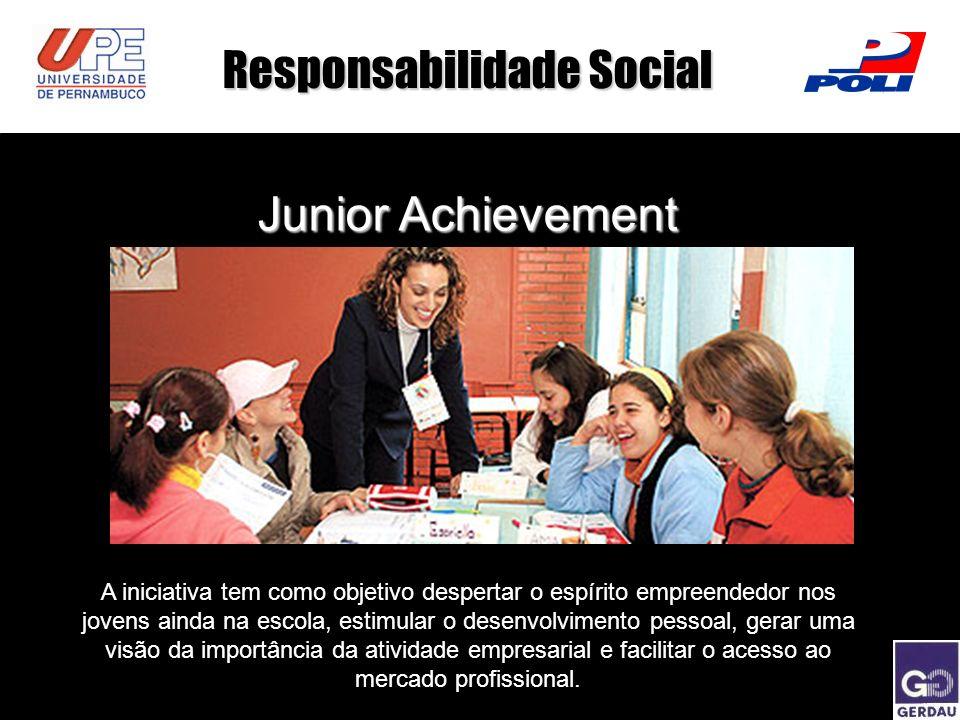 a Responsabilidade Social Junior Achievement A iniciativa tem como objetivo despertar o espírito empreendedor nos jovens ainda na escola, estimular o