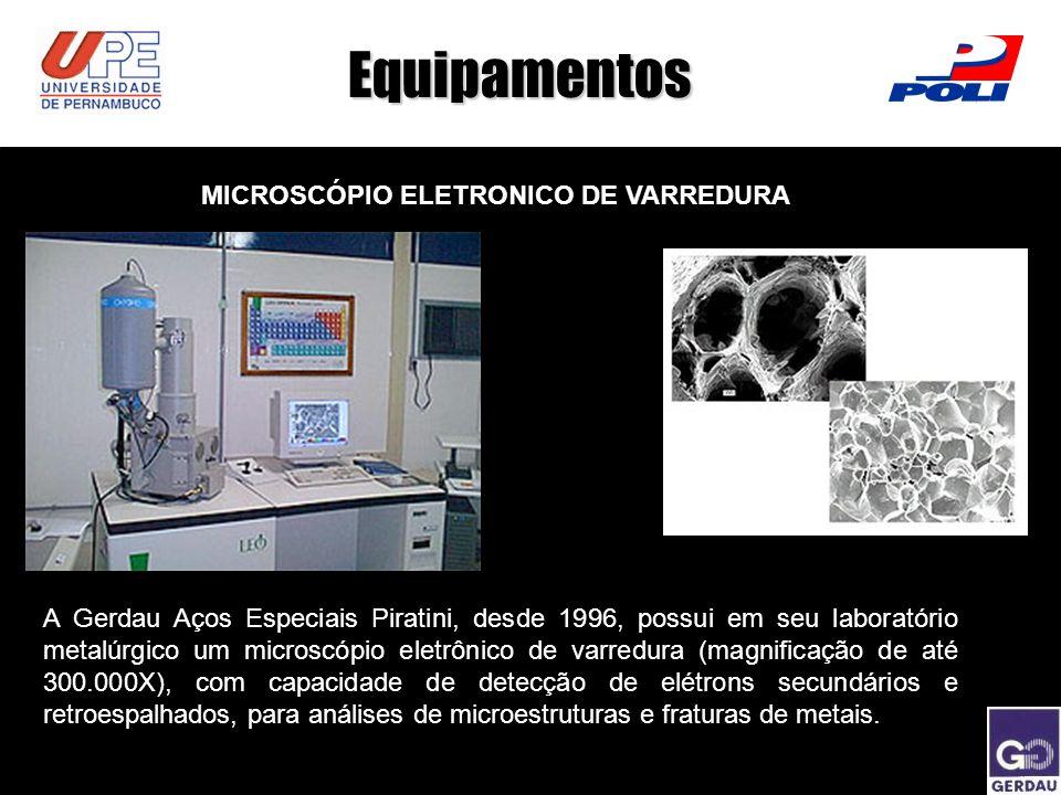 Equipamentos MICROSCÓPIO ELETRONICO DE VARREDURA A Gerdau Aços Especiais Piratini, desde 1996, possui em seu laboratório metalúrgico um microscópio el