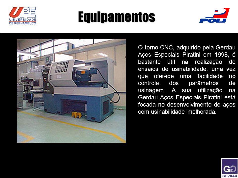 Equipamentos O torno CNC, adquirido pela Gerdau Aços Especiais Piratini em 1998, é bastante útil na realização de ensaios de usinabilidade, uma vez qu