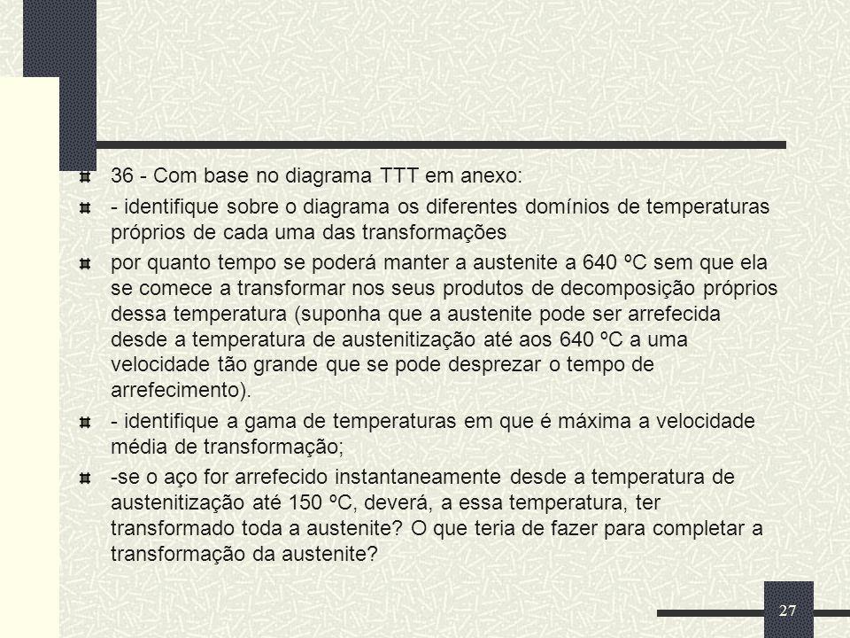 36 - Com base no diagrama TTT em anexo: - identifique sobre o diagrama os diferentes domínios de temperaturas próprios de cada uma das transformações