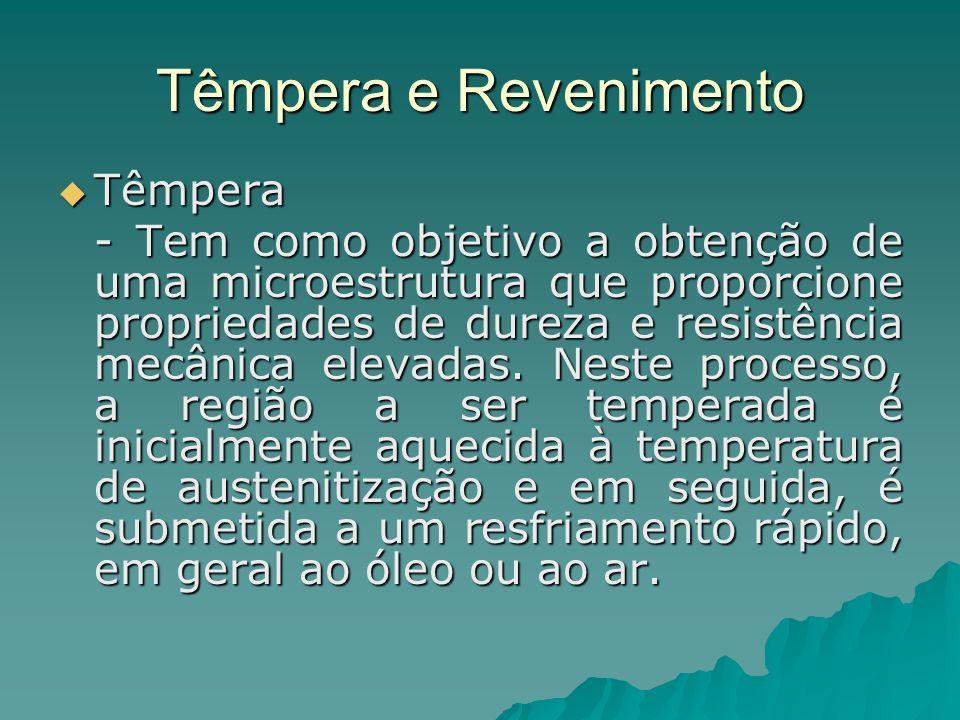 Têmpera e Revenimento Têmpera Têmpera - Tem como objetivo a obtenção de uma microestrutura que proporcione propriedades de dureza e resistência mecâni