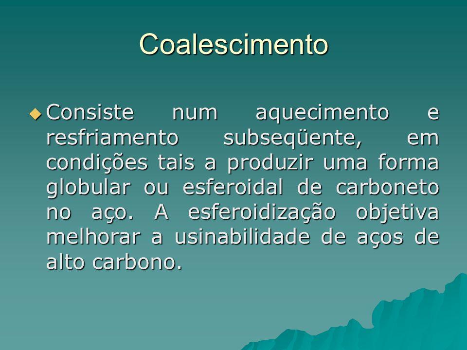 Coalescimento Consiste num aquecimento e resfriamento subseqüente, em condições tais a produzir uma forma globular ou esferoidal de carboneto no aço.