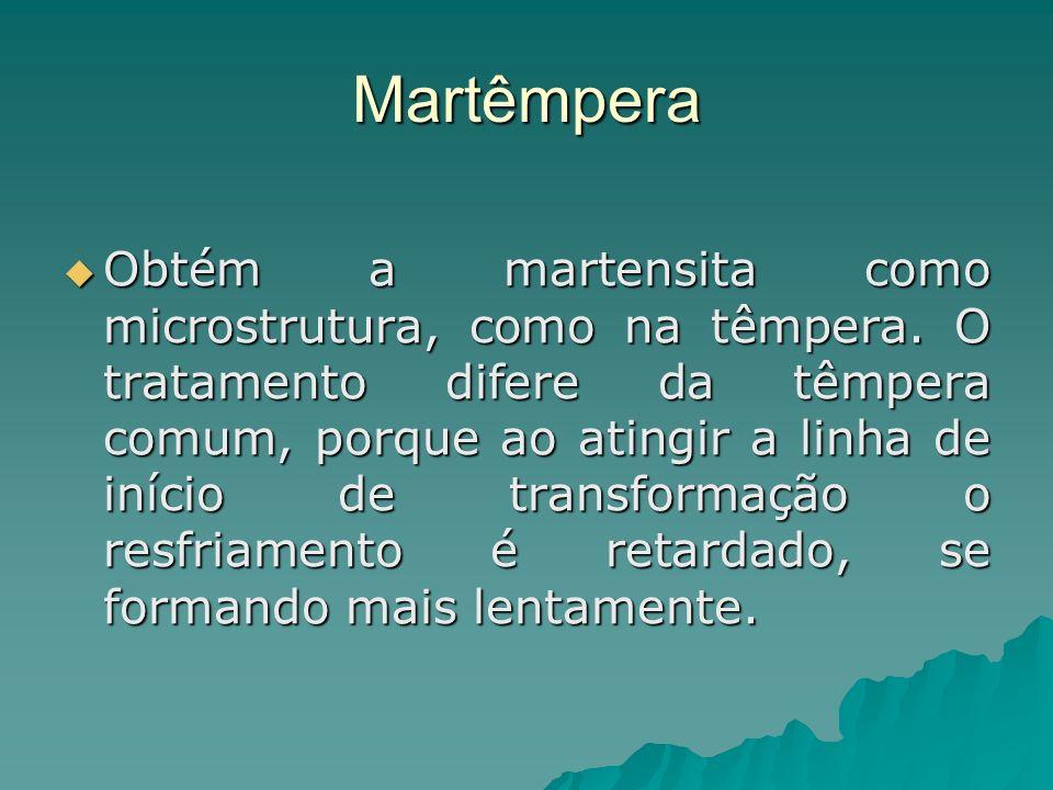 Martêmpera Obtém a martensita como microstrutura, como na têmpera. O tratamento difere da têmpera comum, porque ao atingir a linha de início de transf