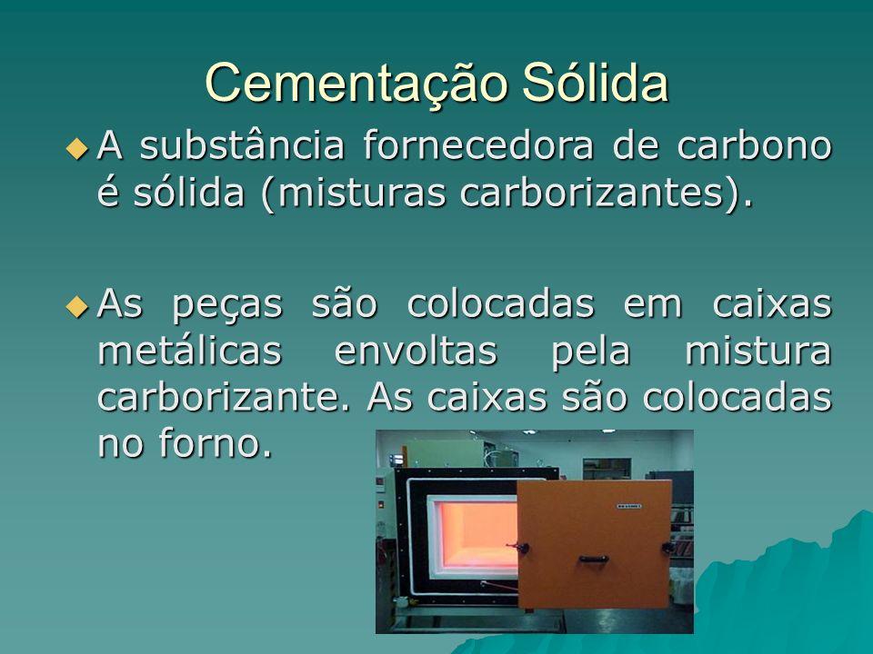 Cementação Sólida A substância fornecedora de carbono é sólida (misturas carborizantes). A substância fornecedora de carbono é sólida (misturas carbor
