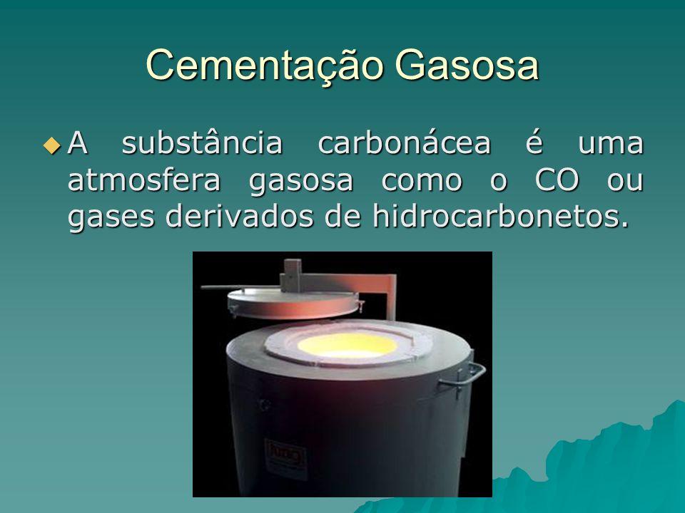 Cementação Gasosa A substância carbonácea é uma atmosfera gasosa como o CO ou gases derivados de hidrocarbonetos. A substância carbonácea é uma atmosf