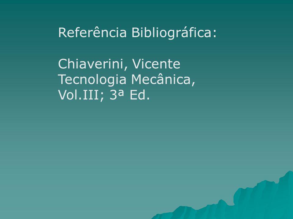Referência Bibliográfica: Chiaverini, Vicente Tecnologia Mecânica, Vol.III; 3ª Ed.