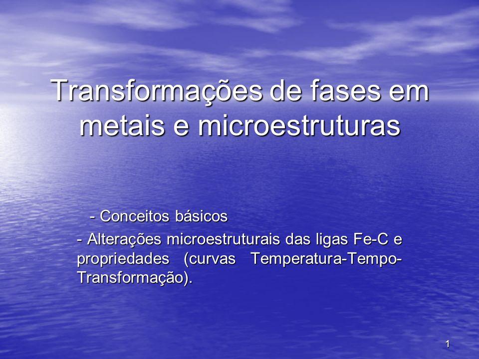 1 Transformações de fases em metais e microestruturas - Conceitos básicos - Conceitos básicos - Alterações microestruturais das ligas Fe-C e proprieda