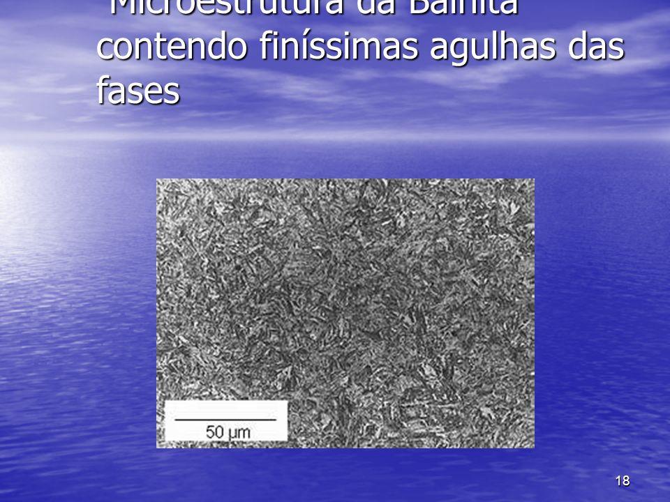18 Microestrutura da Bainita contendo finíssimas agulhas das fases Microestrutura da Bainita contendo finíssimas agulhas das fases