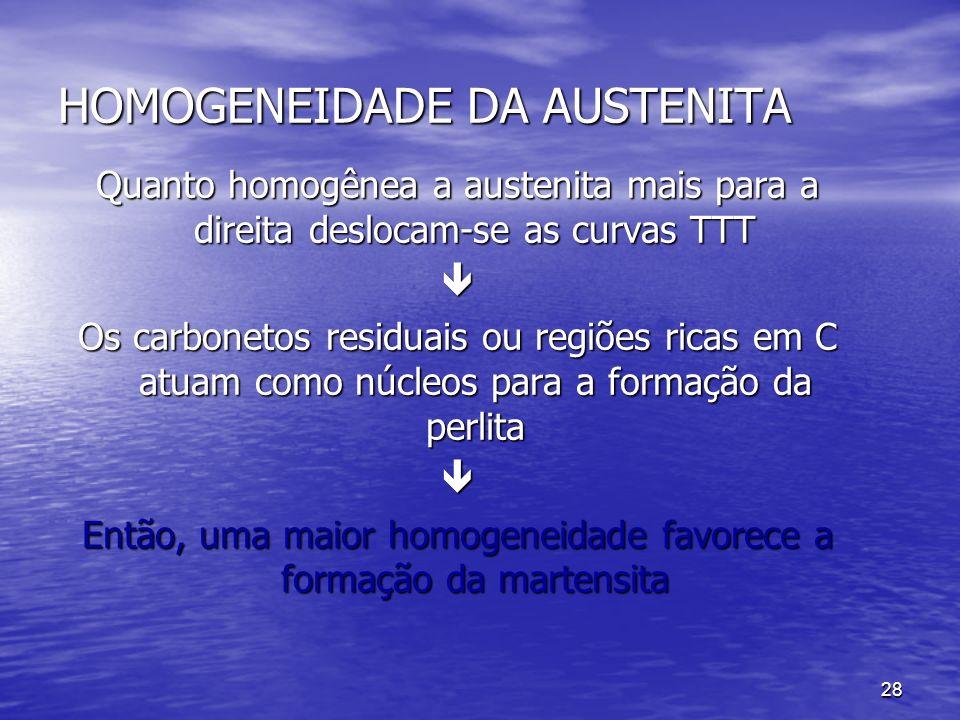 28 HOMOGENEIDADE DA AUSTENITA Quanto homogênea a austenita mais para a direita deslocam-se as curvas TTT Os carbonetos residuais ou regiões ricas em C