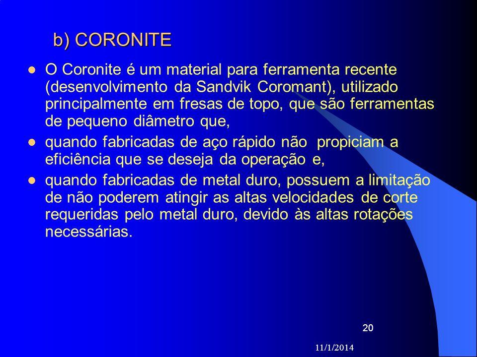11/1/2014 20 b) CORONITE O Coronite é um material para ferramenta recente (desenvolvimento da Sandvik Coromant), utilizado principalmente em fresas de