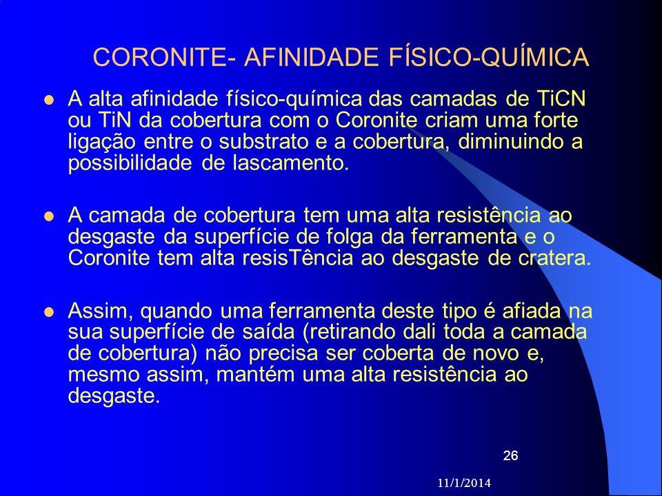 11/1/2014 26 CORONITE- AFINIDADE FÍSICO-QUÍMICA A alta afinidade físico-química das camadas de TiCN ou TiN da cobertura com o Coronite criam uma forte