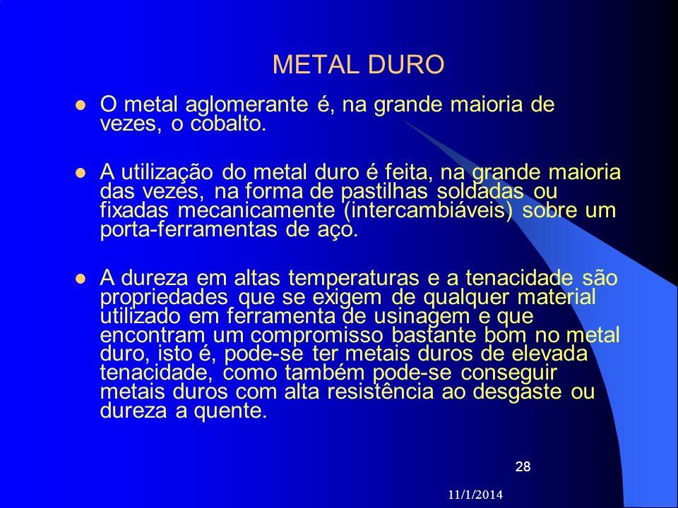 11/1/2014 28 METAL DURO O metal aglomerante é, na grande maioria de vezes, o cobalto. A utilização do metal duro é feita, na grande maioria das vezes,