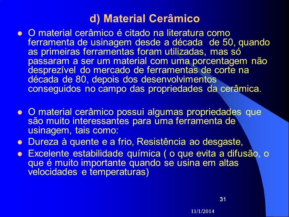 11/1/2014 31 d) Material Cerâmico O material cerâmico é citado na literatura como ferramenta de usinagem desde a década de 50, quando as primeiras fer