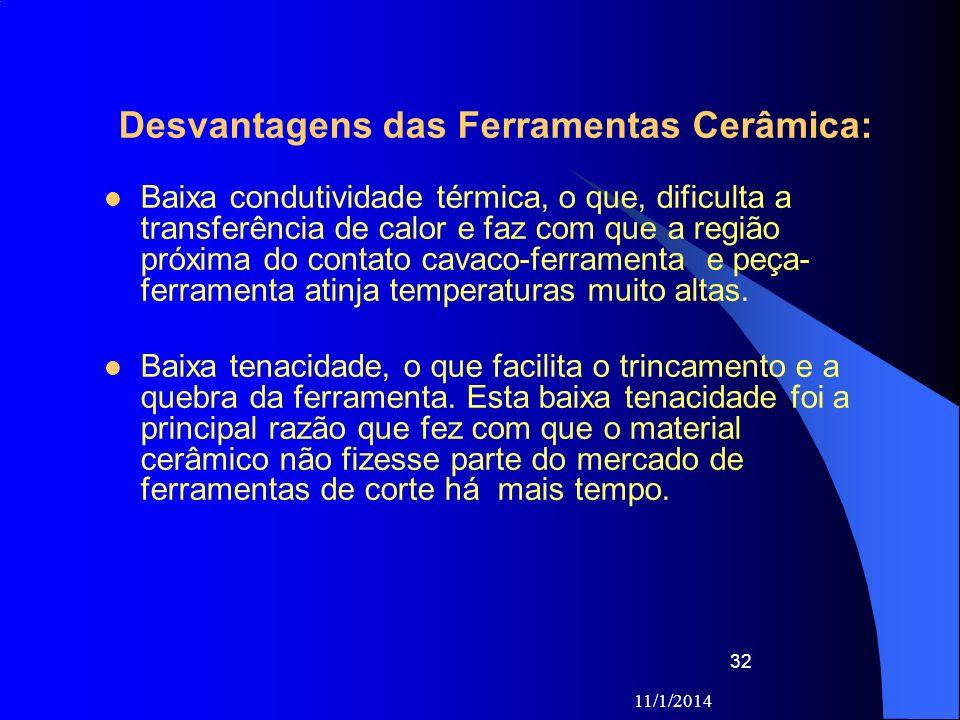 11/1/2014 32 Desvantagens das Ferramentas Cerâmica: Baixa condutividade térmica, o que, dificulta a transferência de calor e faz com que a região próx