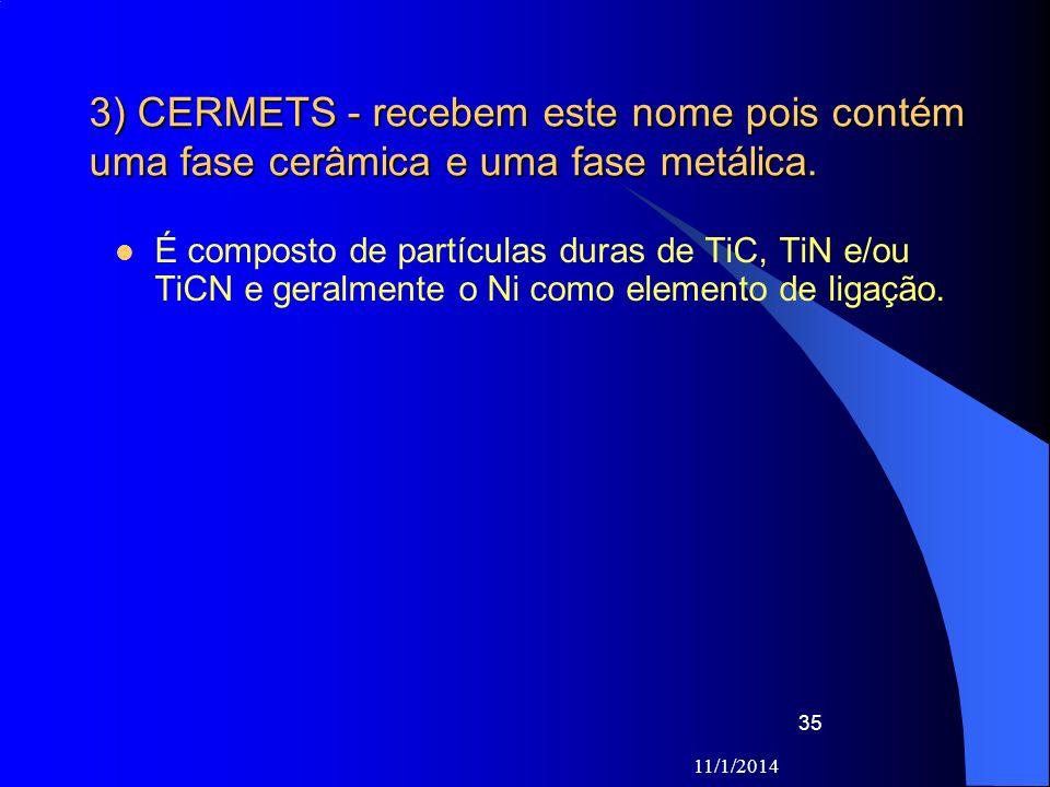 11/1/2014 35 3) CERMETS - recebem este nome pois contém uma fase cerâmica e uma fase metálica. É composto de partículas duras de TiC, TiN e/ou TiCN e