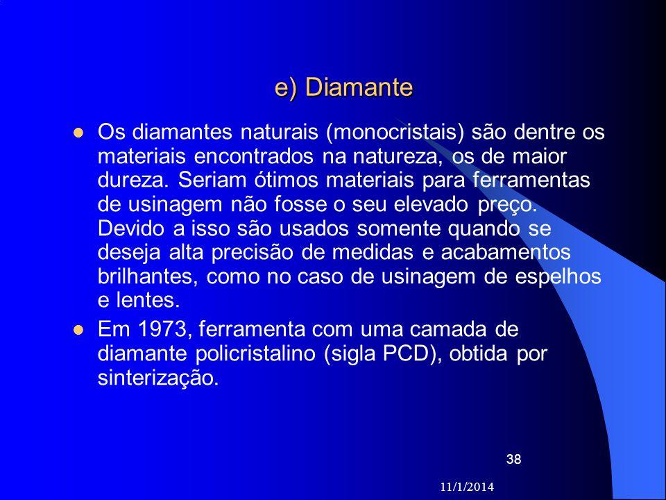 e) Diamante Os diamantes naturais (monocristais) são dentre os materiais encontrados na natureza, os de maior dureza. Seriam ótimos materiais para fer