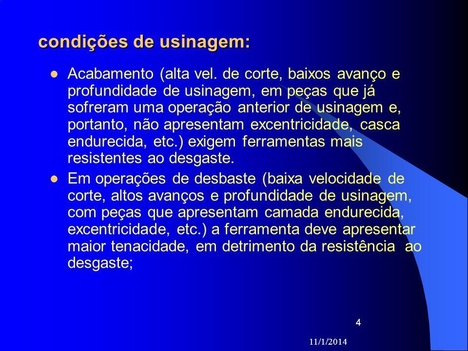 11/1/2014 4 condições de usinagem: Acabamento (alta vel. de corte, baixos avanço e profundidade de usinagem, em peças que já sofreram uma operação ant
