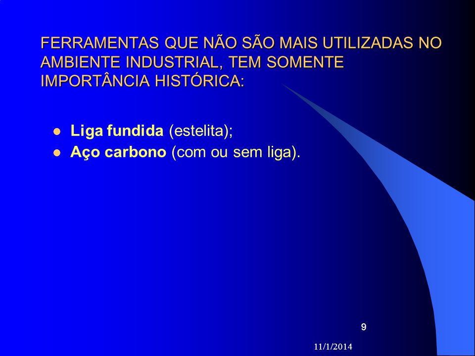 11/1/2014 9 FERRAMENTAS QUE NÃO SÃO MAIS UTILIZADAS NO AMBIENTE INDUSTRIAL, TEM SOMENTE IMPORTÂNCIA HISTÓRICA: Liga fundida (estelita); Aço carbono (c